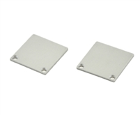 Extra pair of end caps for aluminum profile, housing, extrusion for LED Strips type V2. Includes one power-feed end-cap and one closed end-cap. Finished to match aluminum extrusion, housing finish finish.
