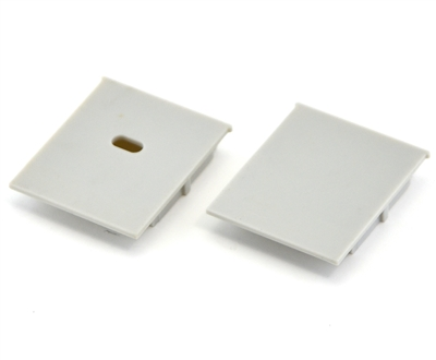 Extra pair of end caps for aluminum profile, housing, extrusion for LED Strips type W. Includes one power-feed end-cap and one closed end-cap. Finished to match aluminum extrusion, housing finish finish.