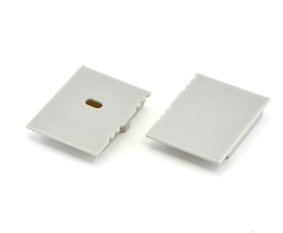 Extra pair of end caps for aluminum profile, housing, extrusion for LED Strips type X. Includes one power-feed end-cap and one closed end-cap. Finished to match aluminum extrusion, housing finish finish.