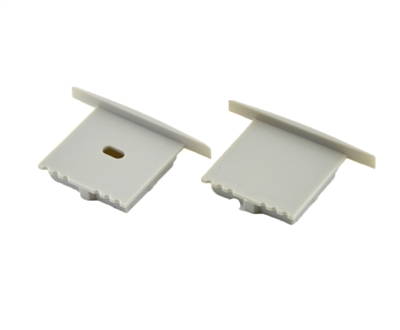 Extra pair of end caps for aluminum profile, housing, extrusion for LED Strips type Y. Includes one power-feed end-cap and one closed end-cap. Finished to match aluminum extrusion, housing finish finish.