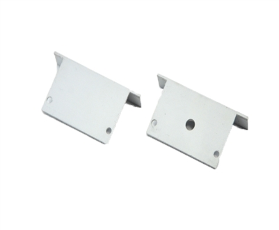 Extra pair of end caps for aluminum profile, housing, extrusion for LED Strips type Y2. Includes one power-feed end-cap and one closed end-cap. Finished to match aluminum extrusion, housing finish finish.