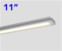 Slim and compact, 11 Inch Long LED Under Cabinet LED Light Bar. DOTLESS Design for clean, even, bright runs of linear LED Lighting. Use in Cabinets, Closets, Display cases and more.