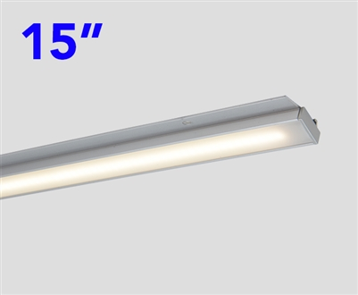 Slim and compact, 15 Inch Long LED Under Cabinet LED Light Bar. DOTLESS Design for clean, even, bright runs of linear LED Lighting. Use in Cabinets, Closets, Display cases and more.