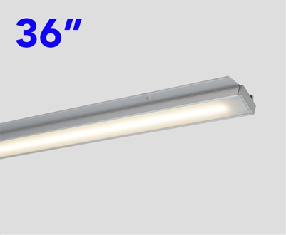 Slim and compact, 36 Inch Long LED Under Cabinet LED Light Bar. DOTLESS Design for clean, even, bright runs of linear LED Lighting. Use in Cabinets, Closets, Display cases and more.