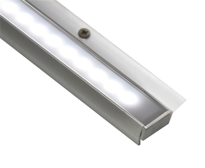 "Linear LED lighting for under cabinet, in cabinet, and over cabinet installations. 19"" cabinet LED bar for cabinets 19"" to 22"". Connect up 6 LED cabinet bars to one powersupply. Dimmable cabinet LED lighting bar"