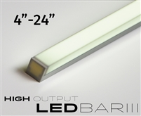 Cut-to-Size, Built-to-Size Linear LED Bar with High Output 500 lumens/foot. Available in 4 inches to 24 inch length. Mounting hardware, 8ft of Wire, High Output Connector Included