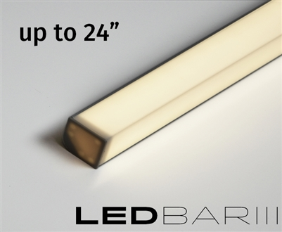 Built-to-Size linear LED fixture, bar with High Output, Super Bright Double Row LED strips. 500 lumens a foot. High Output Showcase lighting with a aquare l-shaped lens. Built to size up to 24""
