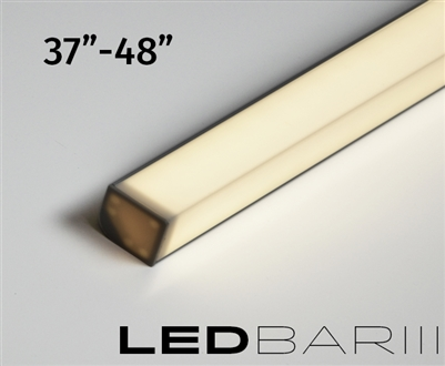 "Built-to-Size linear LED fixture, bar with High Output, Super Bright Double Row LED strips. 500 lumens a foot. High Output Showcase lighting with a aquare l-shaped lens. Built to size 25"" to 36"""