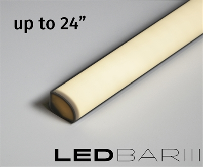 Built-to-Size linear LED fixture, bar with High Output, Super Bright Double Row LED strips. 500 lumens a foot. High Output Showcase lighting with a rounded quarter-circle lens. Built to size up to 24""