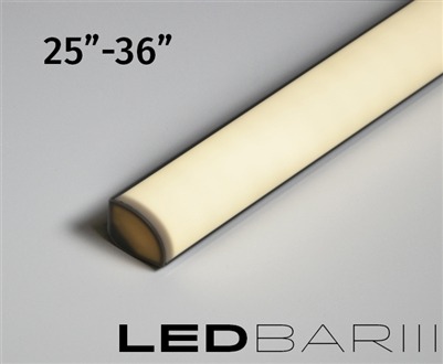 "Built-to-Size linear LED fixture, bar with High Output, Super Bright Double Row LED strips. 500 lumens a foot. High Output Showcase lighting with a rounded quarter-circle lens. Built to size 25""-36"""