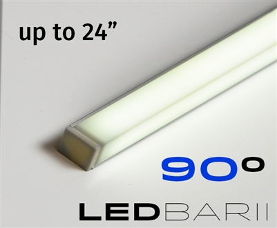 Cut-to-Size, Built-to-Size Linear LED Bar with Medium High Light Output 250 lumens/foot. Available in 4 inches to 24 inch length. Lights mounted at 45 degree angle. 90 degree light output. Mounting hardware, 8ft of Wire, Smart Connector Included