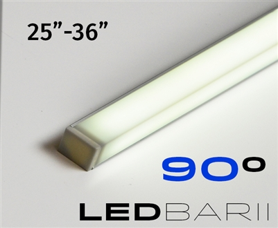 Cut-to-Size, Built-to-Size Linear LED Bar with Medium High Light Output 250 lumens/foot. Available in 25 inches to 36 inch length. Lights mounted at 45 degree angle. 90 degree light output. Mounting hardware, 8ft of Wire, Smart Connector Included