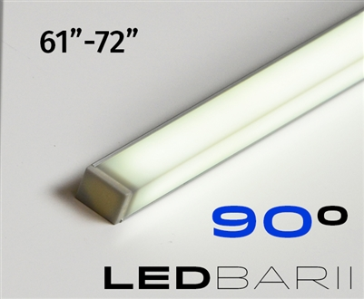 Cut-to-Size, Built-to-Size Linear LED Bar with Medium High Light Output 300 lumens/foot. Available in 61 inches to 72 inch length. Lights mounted at 45 degree angle. 90 degree light output. Mounting hardware, 8ft of Wire, Smart Connector Included