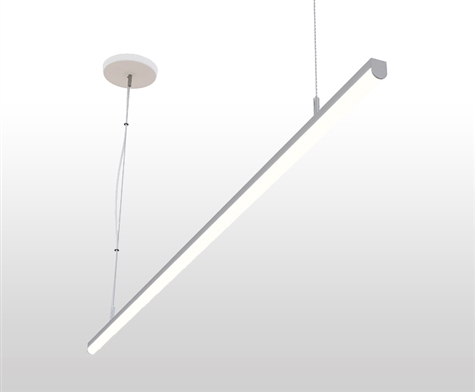 Suspended, Pendant Mounted Linear LED Slim-Suspension Fixture with GlowbackLED powered canopy system. Dimmable Linear Suspension LED Fixture for Offices, Homes, Commercial, Conference Room, and other spaces.