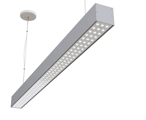 4 foot linear LED fixture for pendant, suspension mounting with advanced integrated optics and 30 degree FWHM light distribution. Available in 3000K Warm White, 4000K Natural White, and 5000K Bright White.