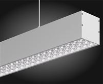 8 foot linear LED fixture for pendant, suspension mounting with advanced integrated optics and 60 degree FWHM light distribution. Available in 3000K Warm White, 4000K Natural White, and 5000K Bright White.