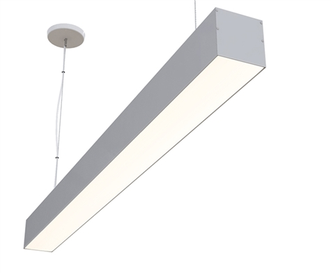 "6 foot, 68"" Direct 3"" x 3"" Linear LED Fixture for Suspension/Pendant Mounting linear LED lighting. High Output 1,250 lumens foot for commercial and industrial lighting applications."