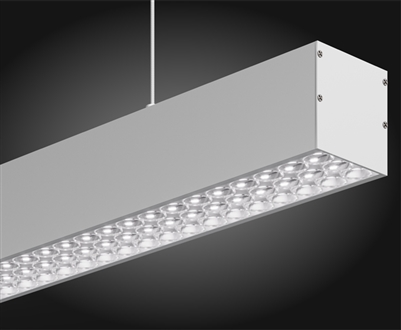8 foot linear LED fixture for pendant, suspension mounting with advanced integrated optics and 90 degree FWHM light distribution. Available in 3000K Warm White, 4000K Natural White, and 5000K Bright White. Dimmable or Nondimmable