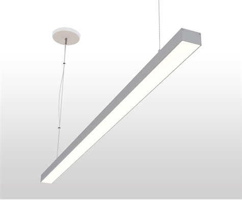 "72"" 6 foot 2"" Wide Slim Suspended, Pendant Mounted Linear LED Slim-Suspension Fixture with GlowbackLED powered canopy system. Dimmable Linear Suspension LED Fixture for Offices, Homes, Commercial, Conference Room, and other spaces."