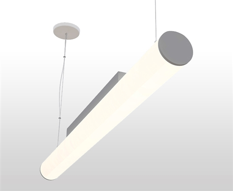 "96"" 8ft 4"" diameter round linear suspended LED fixture delivering over 700 lumens/foot at 72W. Unique wrap-around circular lens allows for 360 degree illumination in your space. Available in dimmable, non-dimmable configurations."