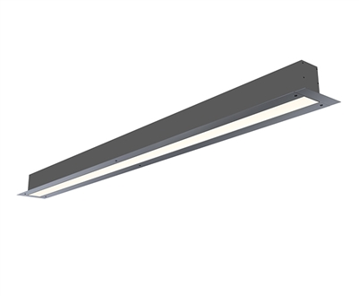 8 foot 2 inch wide recess mount linear light fixture with mud-over plaster bead for trim-less linear lights made in Miami. Mud over flange to get clean, even 2 inch wide runs of high output, UL-listed Lighting. Connect directly to 120-277 Volt Input