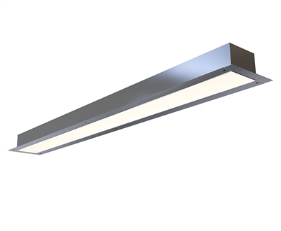 8 foot 4 inch wide recessed linear light fixture with plaster bead for trimless linear lighting installations. Plaster over flange to get clean, even 4 inch wide runs of high output, UL-listed Lighting.