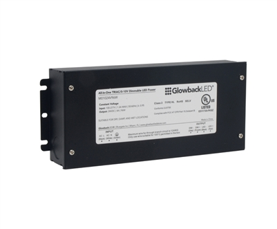 Universally Dimmable Compact Electronic Power Supply, Single-Output, 24VDC 96W 0-10V Compact, Slim, Concealable. Ideally suited for under cabinet lighting, display case lighting, closet lighting, and retail lighting systems.