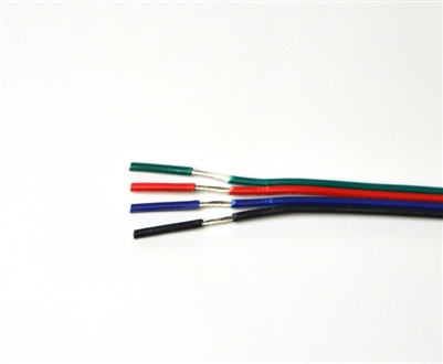 Wire for Color Changing RGB LED Light Strips. Tin coated, 18AWG, 4 conductor wire.