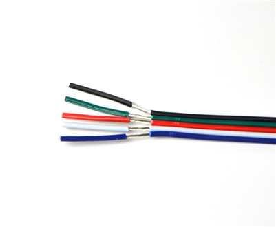 Wire for Color Changing and White RGBW LED Light Strips. Tin coated, 18AWG, 5 conductor wire.