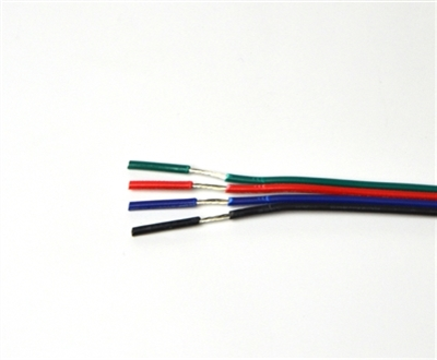 Wire for Color Changing RGB LED Light Strips. Tin coated, 20AWG, 4 conductor wire.