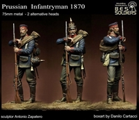 Prussian Infantryman, 1870, 75mm Resin figure with optional heads