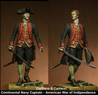 Captain of Continental Navy, The American War of Independence, 75mm resin figure with optional heads