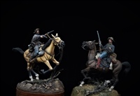 Kansas Redlegs, 1863 and Quantrill's Raiders, 1863 pairing.  Both pieces are scratchbuilt/Conversions in 54mm by James Rice.