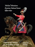 American National Lancer Officer, 1840, 75mm Resin Mounted Figure