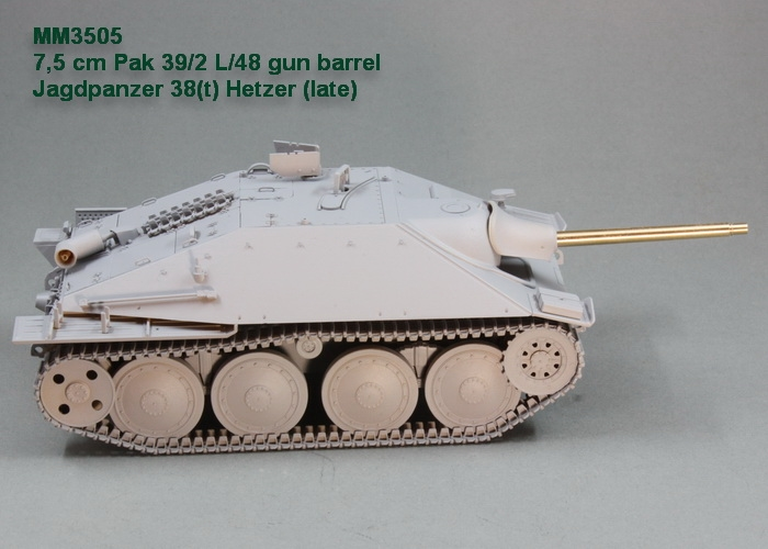 75 Cm Pak 39 2 L 48 Gun Barrel Jagdpanzer 38t Hetzer Late For Academy Kit