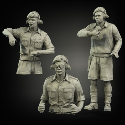 PA35-057 British RAC North Africa early tank crew (3 figures), resin, 1/35