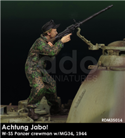 RADO MIniatures, Waffen SS Panzer Crewman Firing MG34, 1944, Achtung Jabo! series, 1/35 scale resin figure.