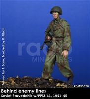 RADO MIniatures, Soviet Razviedchik w/PPsh, 1941-45, Behind Enemy Lines series, 1/35 scale resin figure.