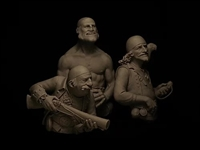 El Trio Calavera. 1/12 scale fantasy resin pirate bust trio sculpted by Lucas Pina. Limited edition to 299 kits