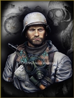 German Motorcyclist East Front WWII, 1/10 Scale Resin Bust