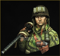 YM1873 - WW2 US AIRBORNE with M1919, resin 1/9 scale bust