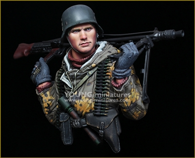 YM1882 - German Machine Gunner - Eastern Front WWII, resin 1/9 scale bust