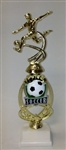 Assembled Soccer Trophy Female 12 inches with White Base