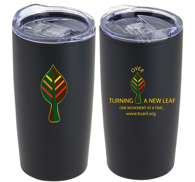 'Turning Over A New Leaf' black 20 oz  Hot & Cold Tumbler