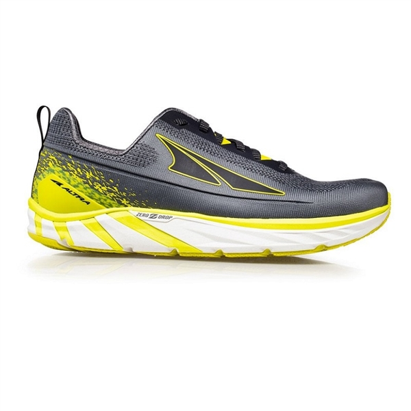 Mens Altra Running TORIN 4 PLUSH zero-drop road running shoes - Gray / Lime