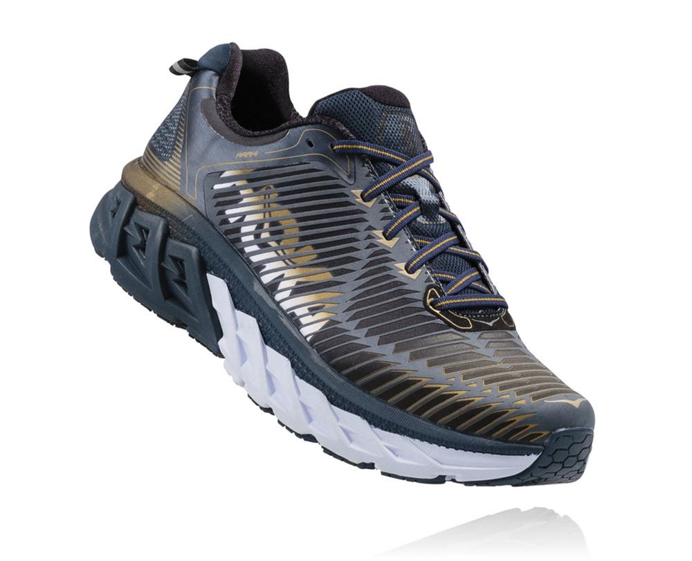 Men s Hoka ARAHI Road Running Shoes - Midnight Navy   Metallic Gold ... fd62e4efa2c