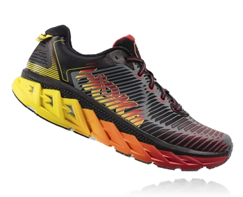 Mens Hoka ARAHI Road Running Shoes - Black / Formula One