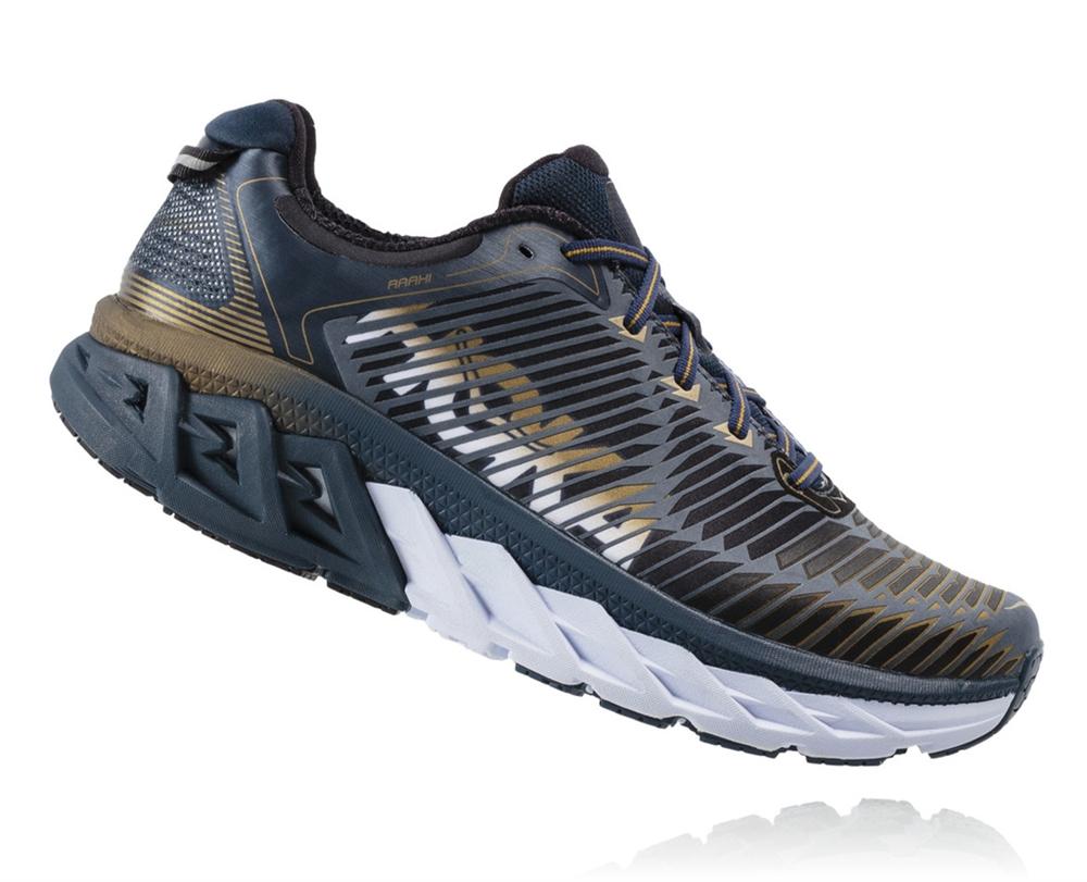 91464c32d4e0 Men s Hoka ARAHI WIDE Road Running Shoes - Midnight Navy   Metallic ...