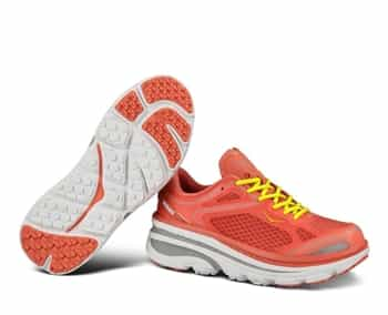 Womens Hoka BONDI 3 Road Running Shoes - Coral / Hi Rise / Citrus