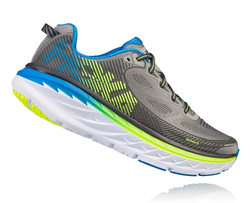 detailed look fda3c 35757 Men's Hoka BONDI 5 Shoes - Griffin / Asphalt
